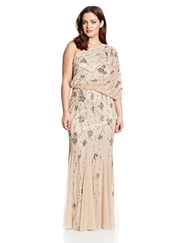 Adrianna Papell Women's Plus-Size One Shoulder Blouson Gown, Nude, 18