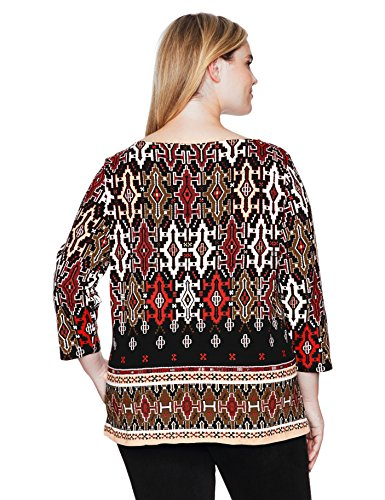 Ruby Rd. Women's Plus Size Embellished Boat-Neck Handloom Border Printed Knit Top, Lipstick Multi, 1X
