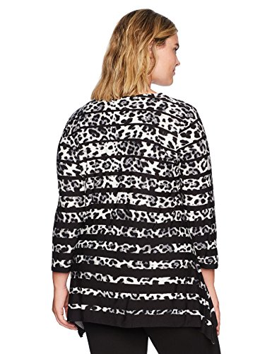 Ruby Rd. Women's Plus Size Embellished Gradient Leopard Printed Sharkbite Top, Slate Grey/Multi, 1X