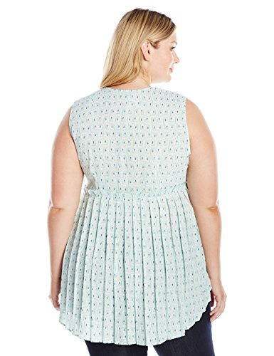 Melissa McCarthy Seven7 Women's Plus Size Pleated Tank Top, Honeymoon, 1X