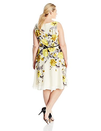 Gabby Skye Women's Plus-Size Fit and Flare Floral Printed Dress, Ivory/Yellow, 16W