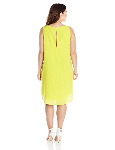 BB Dakota Women's Plus-Size Selena Hammered Crepe Shift Dress, Citron, 2X