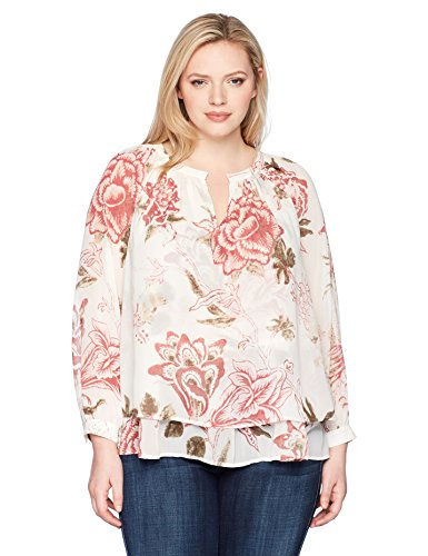 Lucky Brand Women's Plus Size Jenna Peasant Top, Natural Multi, 1X