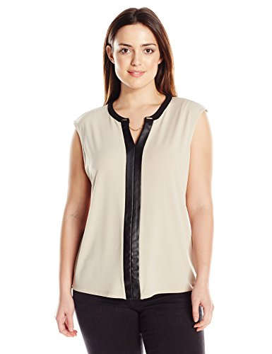 Calvin Klein Women's Plus-Size V-Neck Tank With Faux Leather and Chain, Latte, 3X