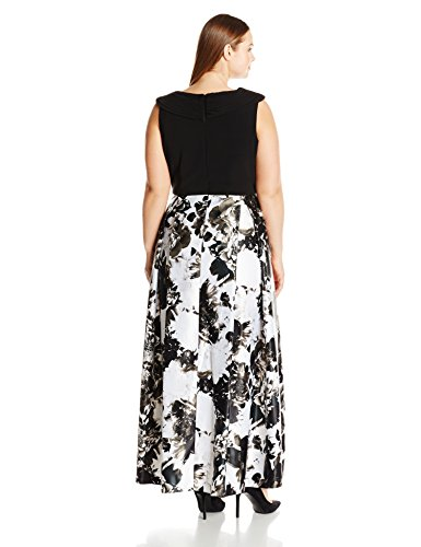 Alex Evenings Women's Plus Size Printed Ball Gown Skirt Dress, Black/White, 14W
