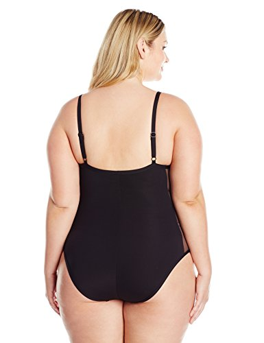 Kenneth Cole REACTION Women's Plus Size Garden Groove Mio One Piece Swimsuit, Black, 2X