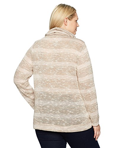 Ruby Rd. Women's Plus Size Cowl-Neck Metallic Stripe Jersey Pullover with Pouch Pockets, Blush Combo with Gold Metallic, 3X