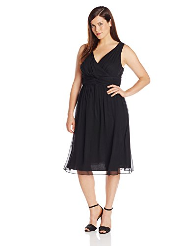 Donna Morgan Women's Plus-Size Sleeveless V Neck Jessie Dress, Black, 14W