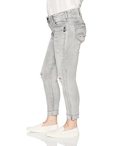 Silver Jeans Women's Plus Size Kenni Mid-Rise Girlfriend Jeans Gray Bleached Wash, Gray Distressed, 24