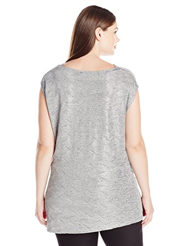 Calvin Klein Women's Plus Size S/l Metallic Top, Tin, 1X