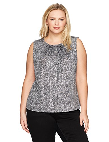 Calvin Klein Women's Plus Size Printed Pleat Neck Cami, Tin/Silver, 1X