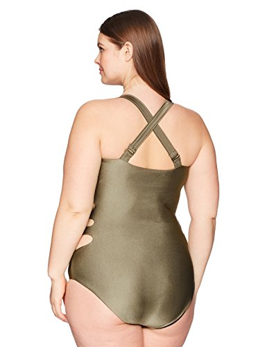 BECCA ETC Women's Plus Size Shimmer One Piece Swimsuit, Mnk, 1X
