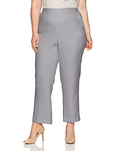 Alfred Dunner Women's Plus Size Medium Pant, Silver Heather, 16W