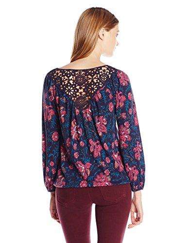 Lucky Brand Women's Plus Size Katie Floral Top, Navy Multi, 1X