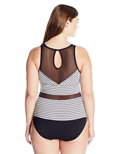Anne Cole Women's Plus Size Mesh High Neck Sexy One Piece Swimsuit, Black WH, 24W