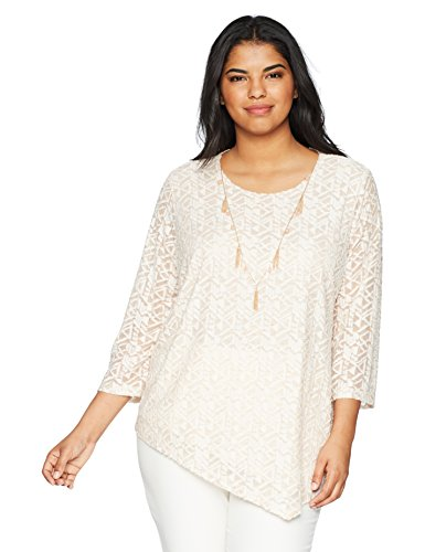 Alfred Dunner Women's Plus Size Asymmetrical Burnout Top, Almond, 2X