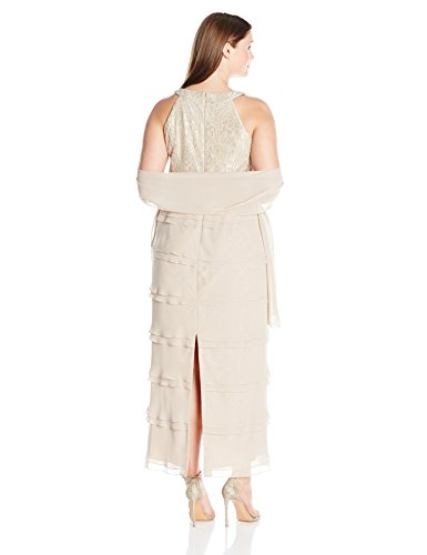Jessica Howard Women's Plus Size Sleevless Gown With Layered Skirt, Beige, 22W