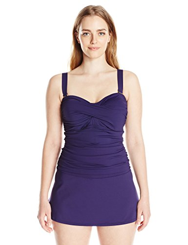 Twist-Front Shirred Dress One Piece Swimsuit