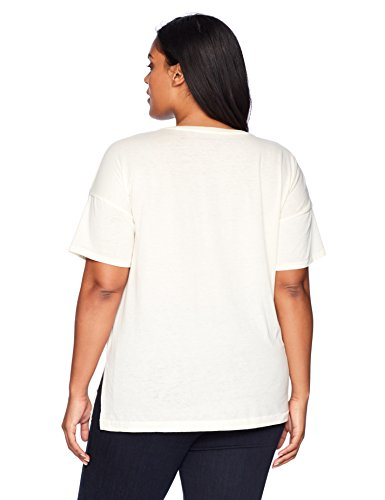 Lucky Brand Women's Plus Size Floral Graphic Tee, Egg Shell, 3X
