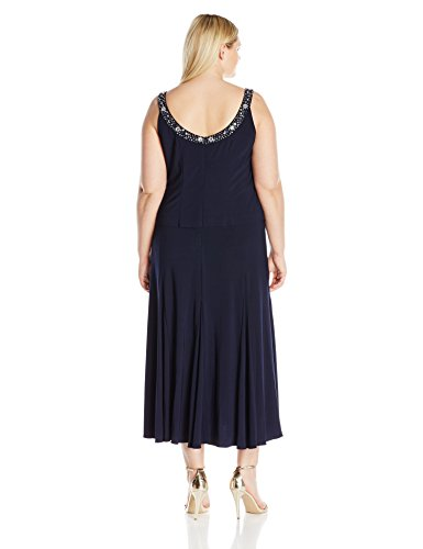 Alex Evenings Women's Plus Size Tea Length Jacket Dress With Sequin Beaded Trim, Navy, 24W