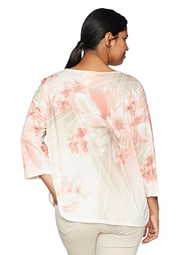 Alfred Dunner Women's Plus Size Asymmetrical Floral Top, Multi, 2X
