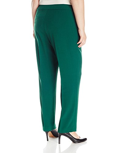 Kasper Women's Plus Size Stretch Crepe Kristy Pant, Evergreen, 18W