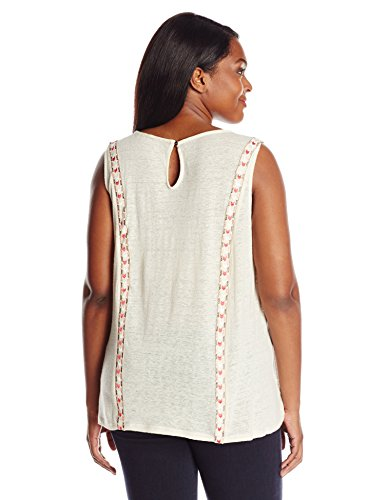 Lucky Brand Women's Plus Size Sleeveless Top With Embroidery, Bone White, 1X