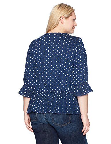 Lucky Brand Women's Plus Size Prairie Peplum Top, Navy Multi, 3X