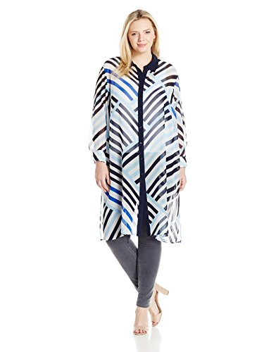 Calvin Klein Women's Plus Size Button Front Long Tunic, White/Iceberg, 2X