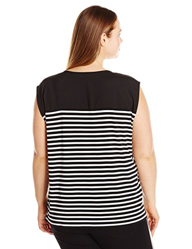 Calvin Klein Women's Plus Size Mixed Print Top, Blk/Wht Gss Cksp, 2X