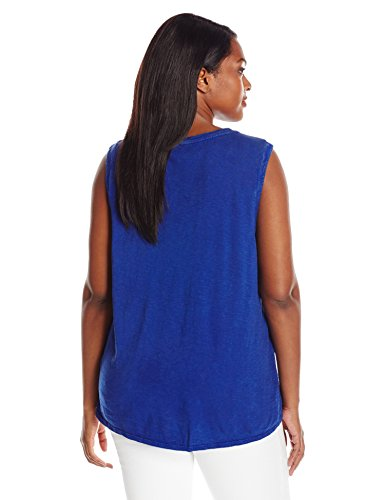 Lucky Brand Women's Plus Size Washed Knit Top, Blue, 2X