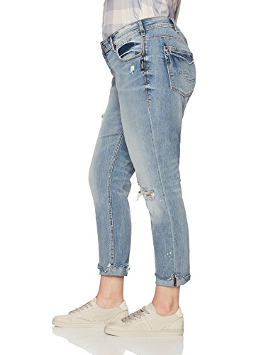Silver Jeans Women's Plus Size Kenni Mid-Rise Girlfriend Jeans Vintage Wash, Medium Distressed, 18