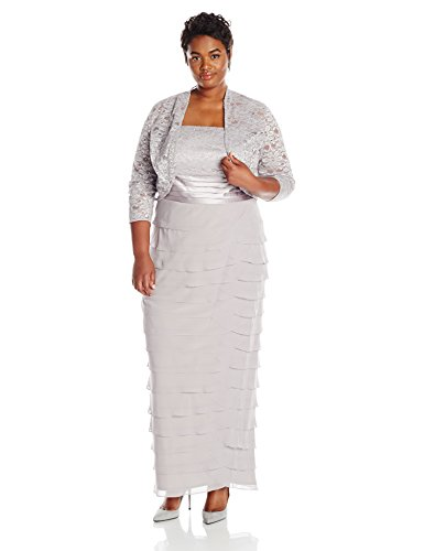 Jessica Howard Women's Plus-Size Lace Jacket Dress With Artichoke Skirt, Gray, 14W
