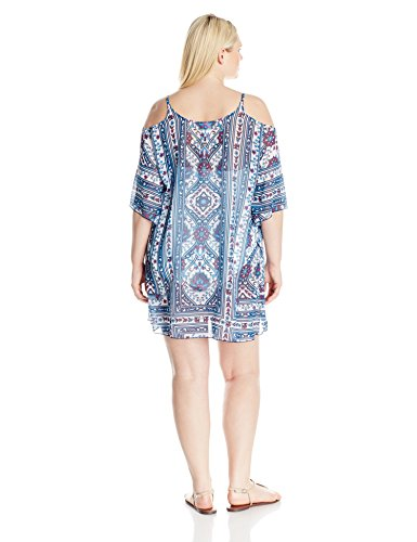 BECCA ETC Women's Plus Size Inspired Medallion Cold Shoulder Chiffon Tunic Cover up, Multi, 3X