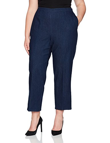Alfred Dunner Women's Plus Size Short, Clean Front, Back Elastic, Indigo, 18W