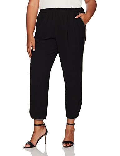 Nine West Women's Plus Size Pull On Pant With Binding, Black/Loden, 18W