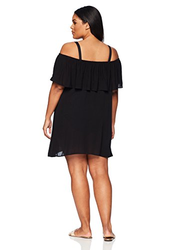 BECCA ETC Women's Plus Size Modern Muse Dress Cover up, Black, 0X