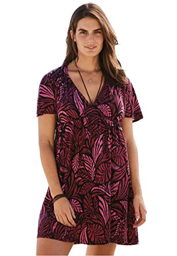 Plus Size Palm-Print Coverup