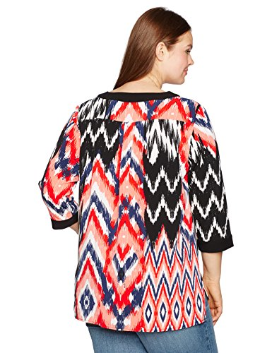 Jones New York Women's Plus Size Ikat Medley Deep Placket Tunic, Coral Combo, 2X