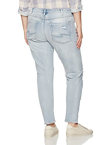 Silver Jeans Women's Plus Size Delancey Slim-Fit Boyfriend Jeans, Destructed Light Wash, 20