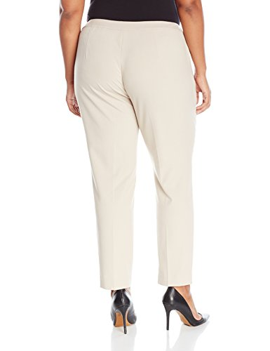 Calvin Klein Women's Plus Size Straight Pant With Buckle and Zipper, Latte, 20W
