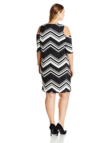 NY Collection Women's Plus Size Printed Elbow Cold Shoulder Scoop Neck Body Con Dress, Noir Staticpeak, 3X