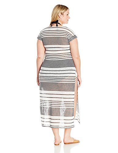 Coastal Blue Women's Plus Size Swimwear Woven Maxi Cover Up With Cotton Tassels, Ebony/Ivory Stripe, 1X (16W-18W)