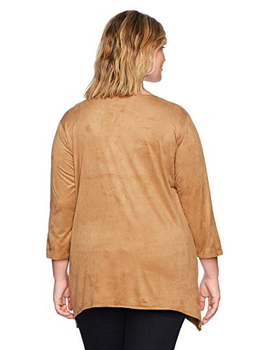 Ruby Rd. Women's Plus Size Embroidered Lightweight Stretch Suede Tunic Top, Oak, 2X