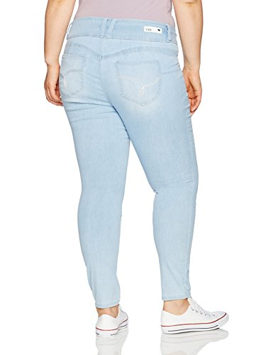 YMI Women's Plus Size Juniors Wannabettabutt Triple Button Jegging, Light, 16
