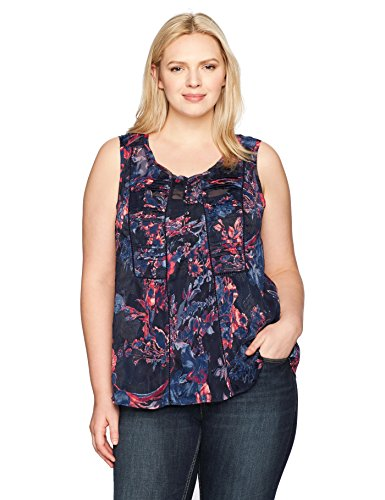 Lucky Brand Women's Plus Size Audrey Floral Tank Top, Navy Multi, 1X
