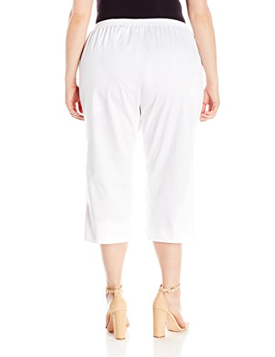 Alfred Dunner Women's Plus Size Side Pocket Back Elastic Capri With Button Hem Detail, White, 22W