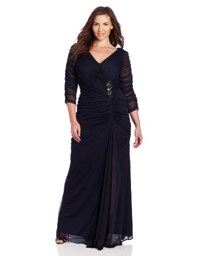 Adrianna Papell Women's Plus-Size 3/4 Sleeve Rouched Gown, Ink, 16W