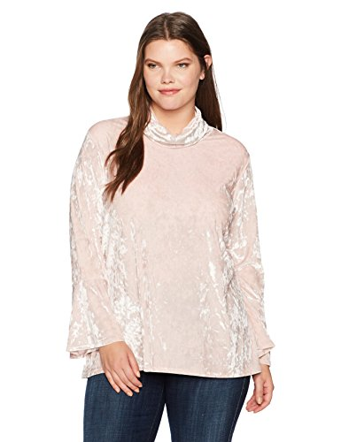 Ruby Rd. Women's Plus Size Mock-Neck Crushed Knit Velvet Tunic Top, Soft Blush, 3X
