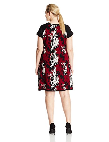 Taylor Dresses Women's Plus-Size Printed Cap Sleeve Fit and Flare Sweater Dress, Merlot, 1X